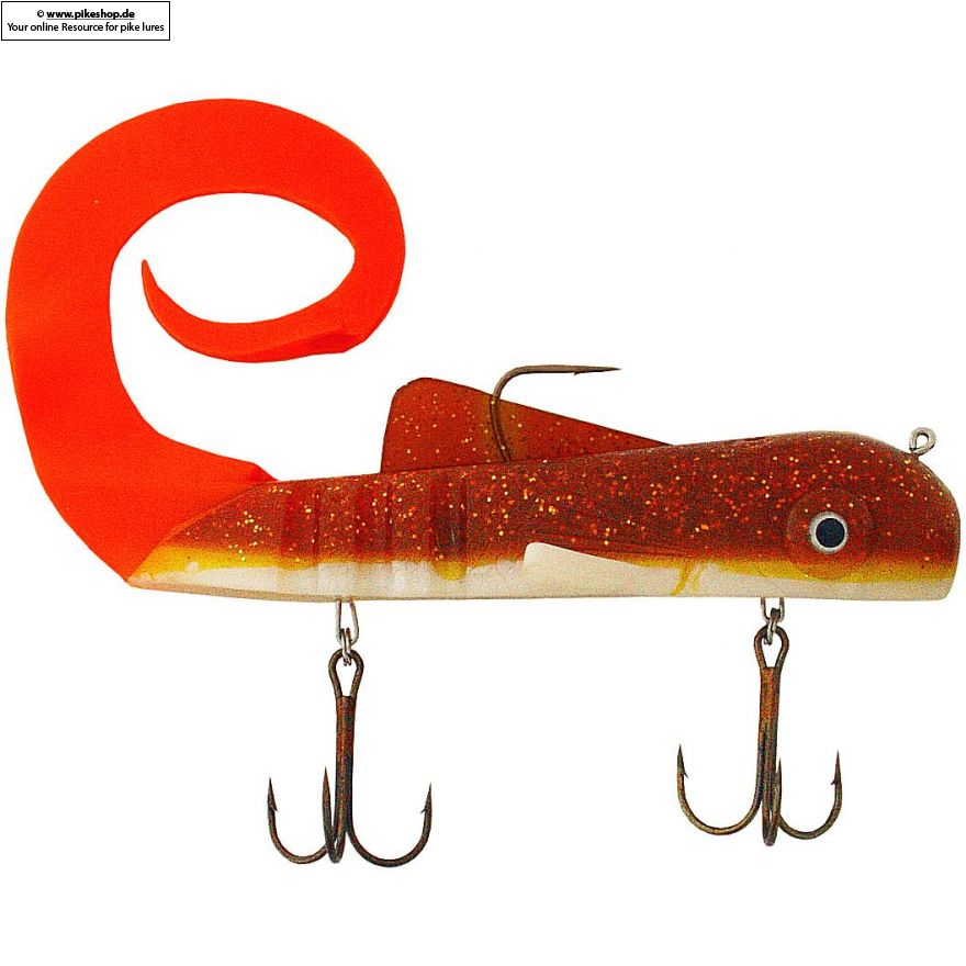 Custom Super Magnum Bull Dawg - 37cm (15 Zoll) - MI Walleye / Orange Tail