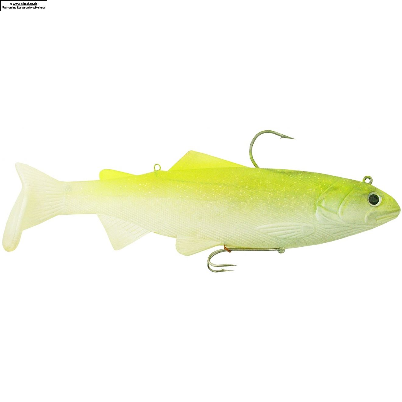 Bass Harasser (medium fall) - 25cm (10 Zoll) - RS Chartreuse Top / Pearl Belly