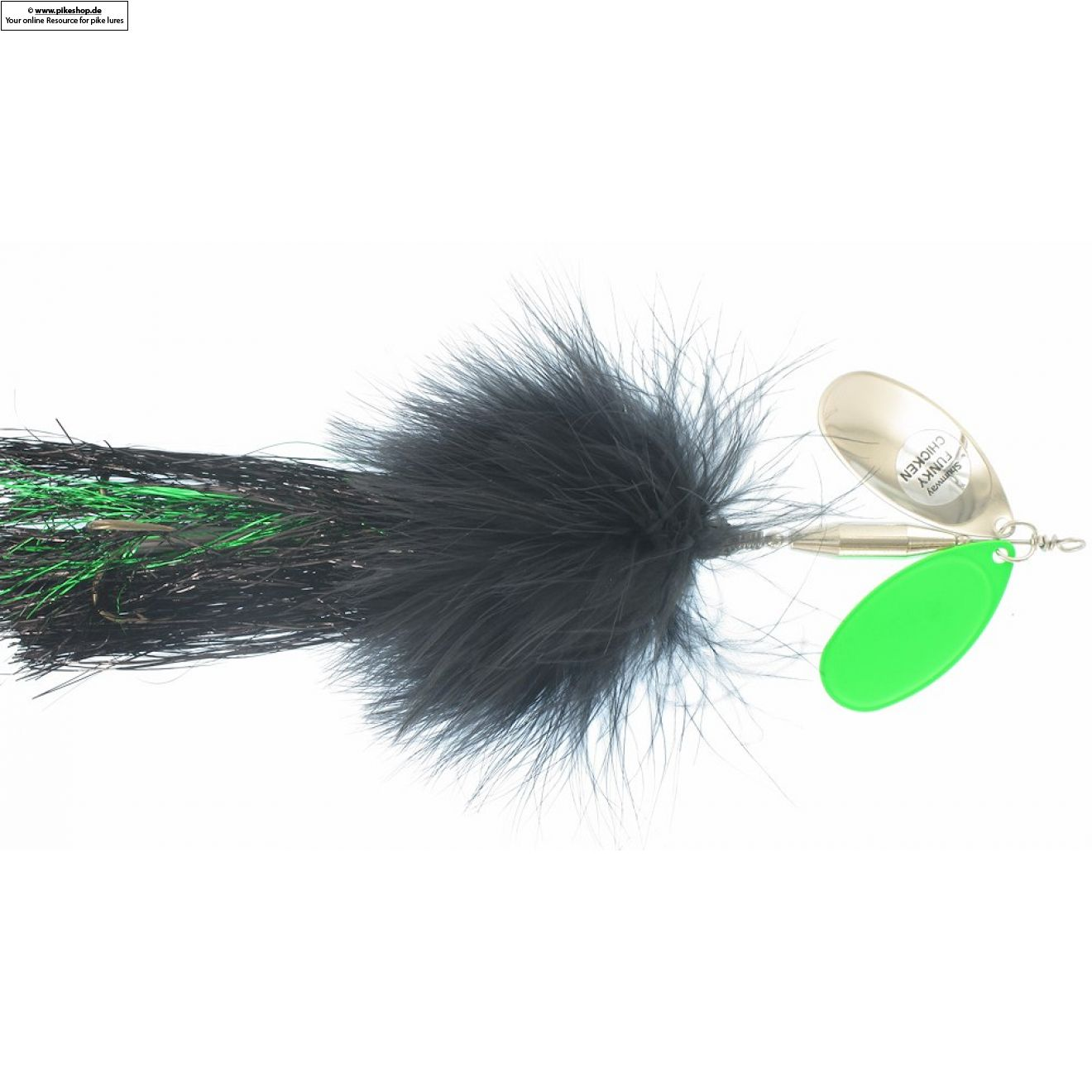 Funky Chicken - 20cm (8 Zoll) - SW FC-29 Black / Flowage Green & Nickel